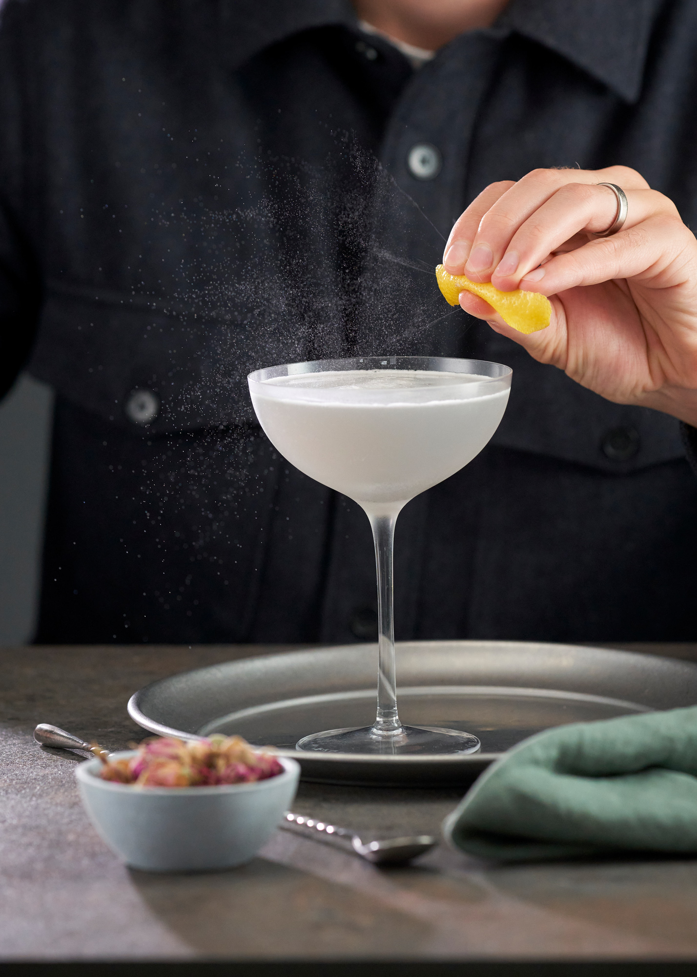 Aviation Gin cocktail being zested