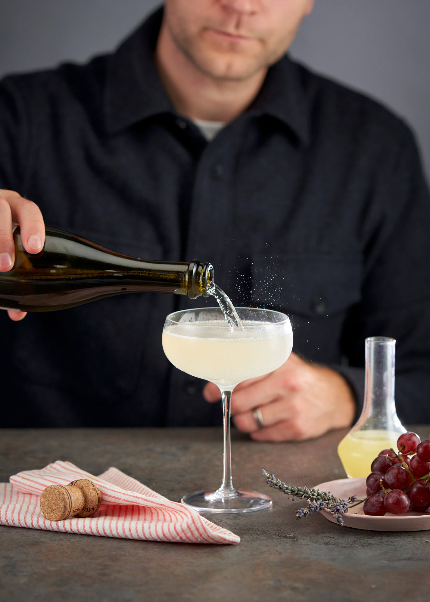 French 75 Cocktail being made
