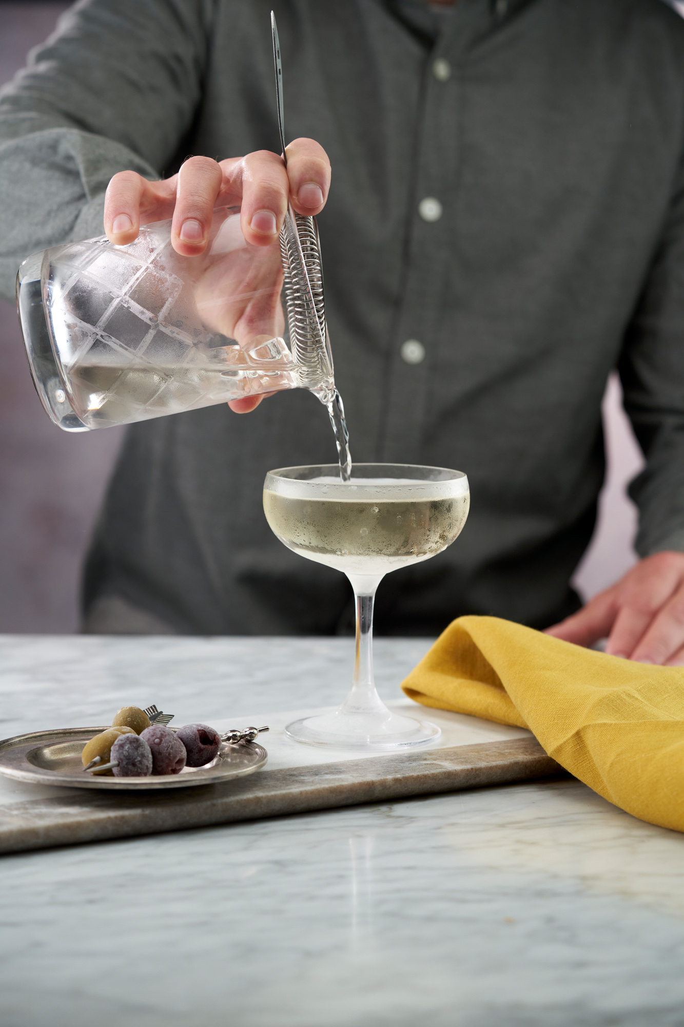 Martini being poured