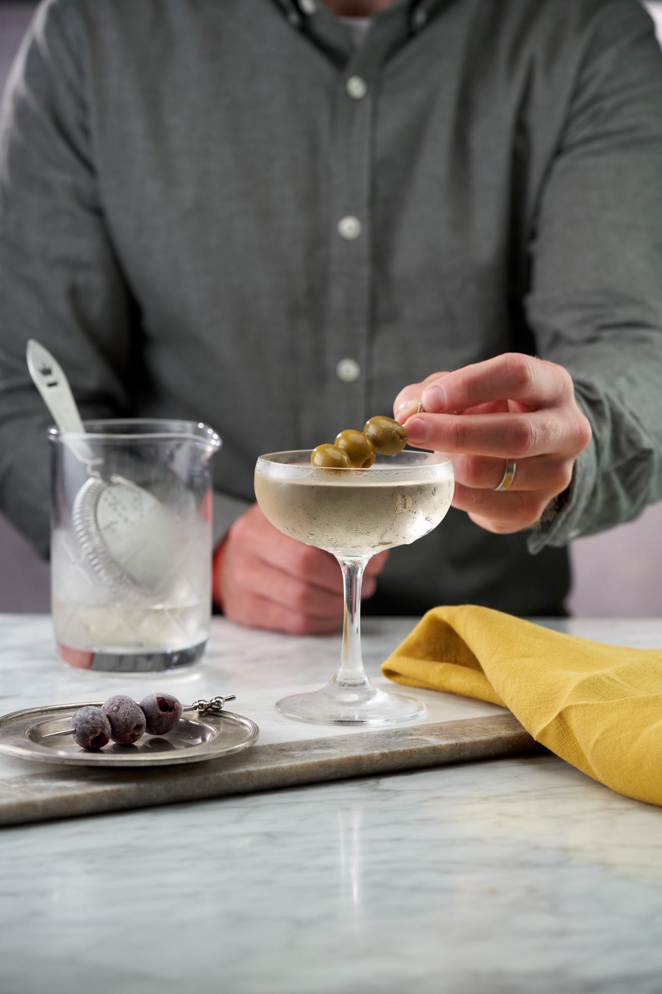Martini garnished with olives